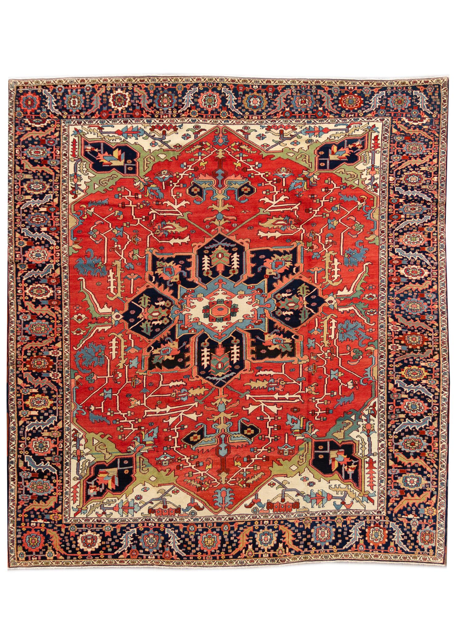 19th Century Antique Serapi Rug, 10X10