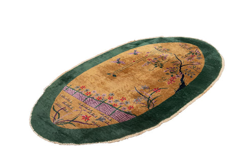 Early 20th Century Vintage Chinese Art Deco Oval Wool Rug, 4' x 7'