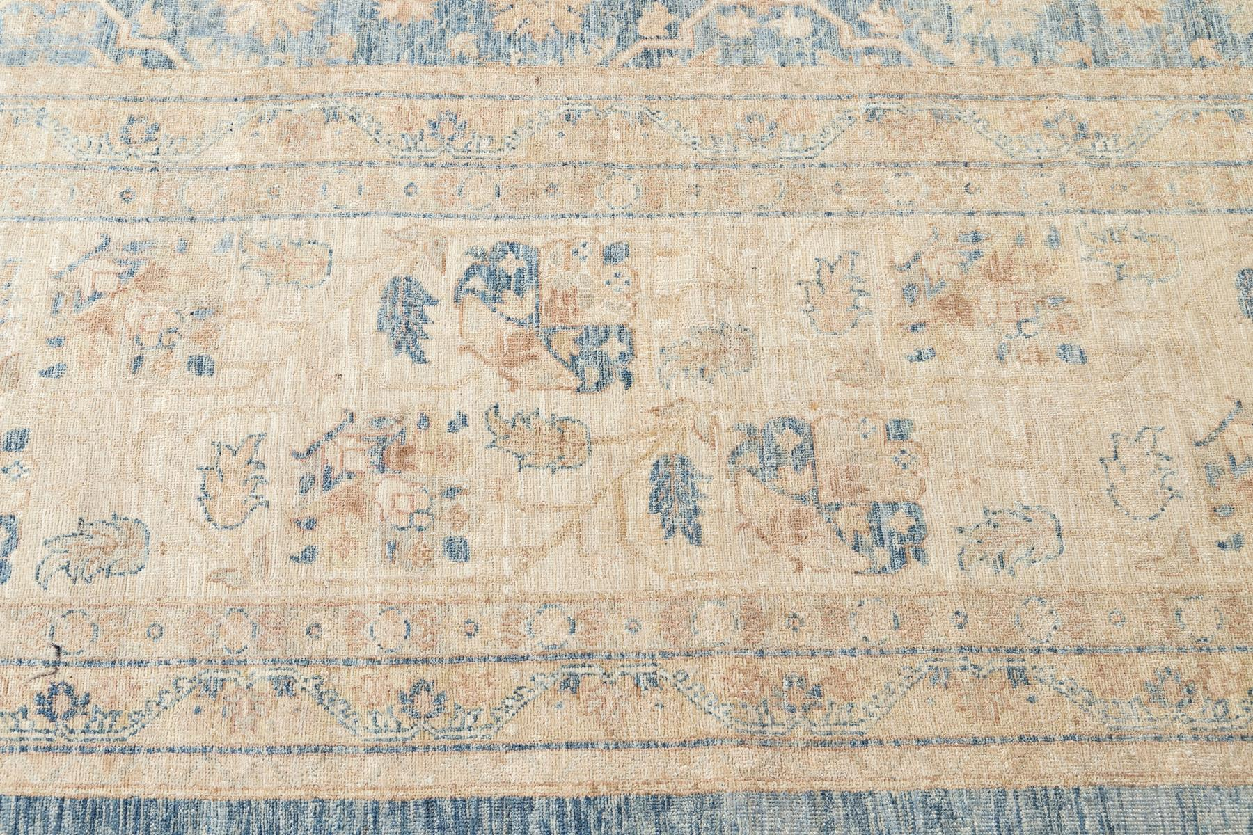 Contemporary Oversize Ivory and Pale Blue Tabriz-Style Wool Area Rug 18' x 24'