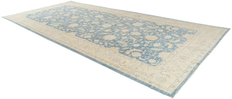 Contemporary Oversize Ivory and Pale Blue Tabriz-Style Wool Gallery Rug 9' x 19'