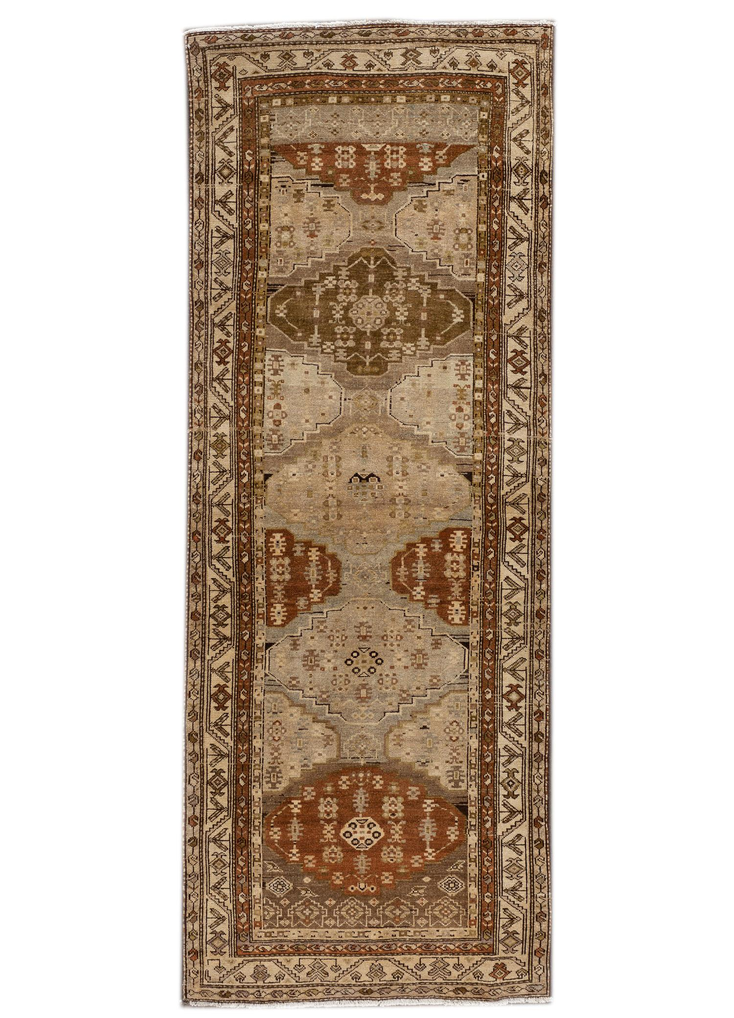 Antique Malayer Runner, 3' x 9'