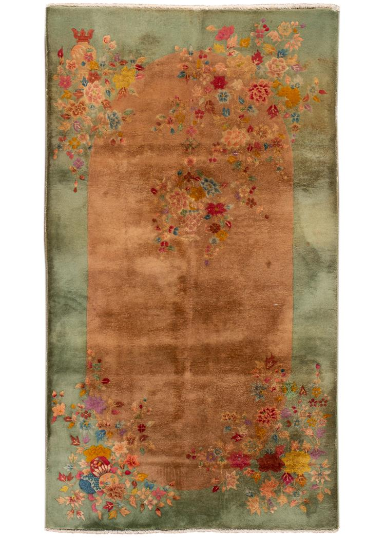 "Early 20th Century Vintage Chinese Art Deco Wool Rug, 4' 0"" x 6' 0"""