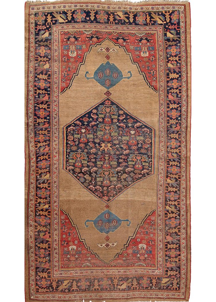 Antique Late 19th Century Distressed Persian Bidjar Rug 6' x 10