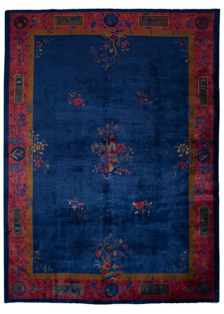 Early 20th Century Antique Art Deco Chinese Rug 9' x 12'
