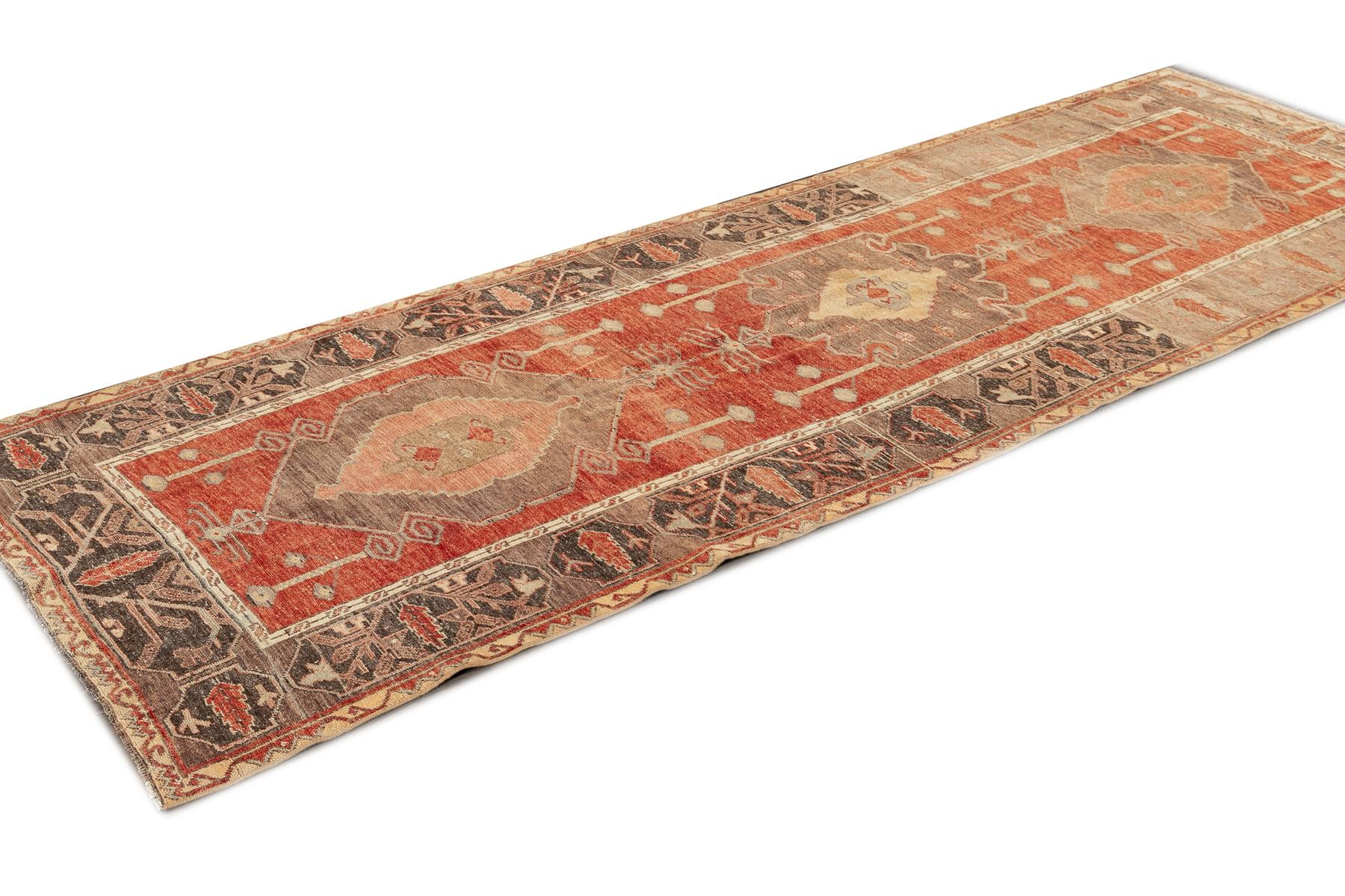 Vintage Turkish Anatolian Runner Rug, 4X10