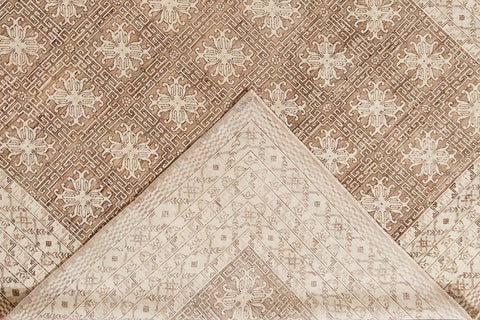 Contemporary Brown and Beige Khotan-Style Wool Area Rug10' x 14'
