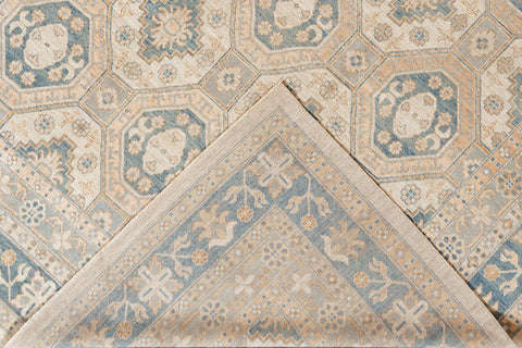 Contemporary Oversize Tan and Blue Khotan-Style Wool Area Rug 13' x 18'