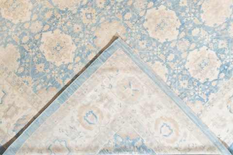 Contemporary Oversize Ivory and Pale Blue Tabriz-Style Area Rug 16' x 22'