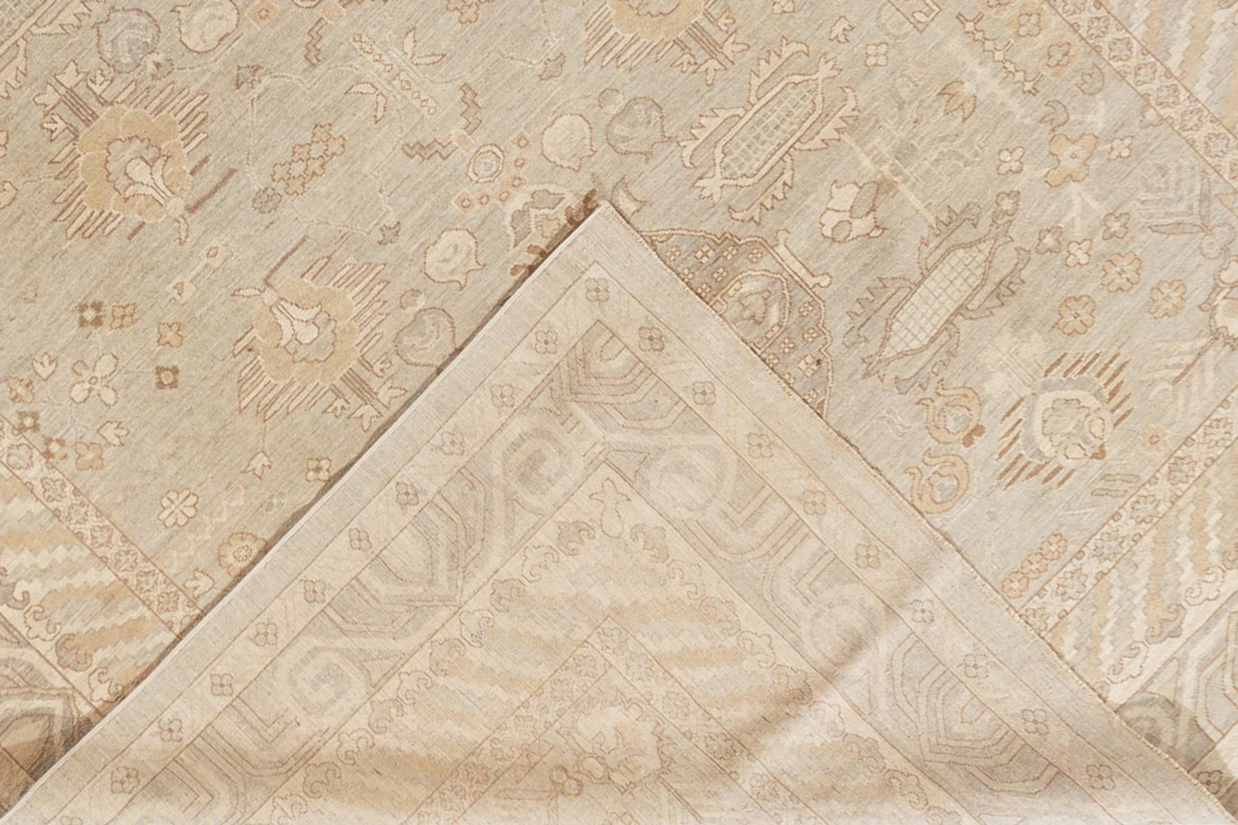 Contemporary Ivory and Grey Khotan-Style Wool Area Rug 9' x 12'