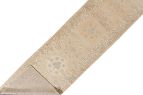 Contemporary Long Ivory Khotan-Style Wool Runner Rug 3' x 16'