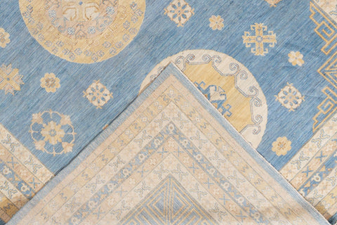 Contemporary Blue and Gold Khotan-Style Wool Area Rug 11' x 15'