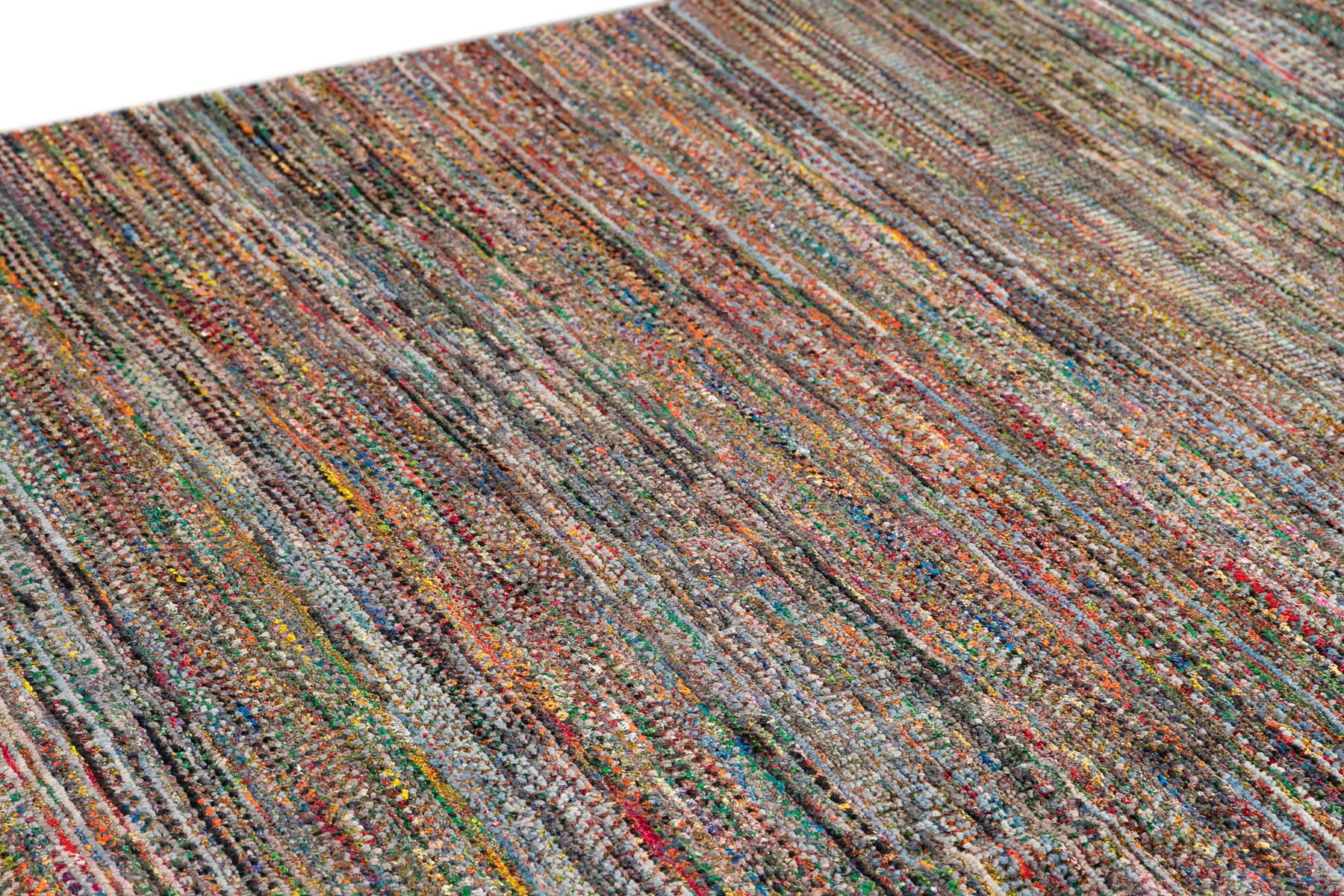 21st Century Striped Sari Silk Rug, 10X14