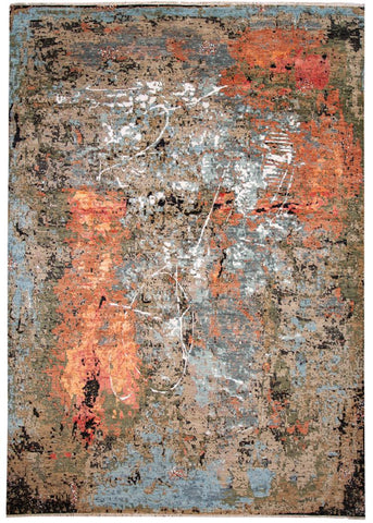 21st Century Contemporary Abstract Indian Wool Rug 10' x 14'