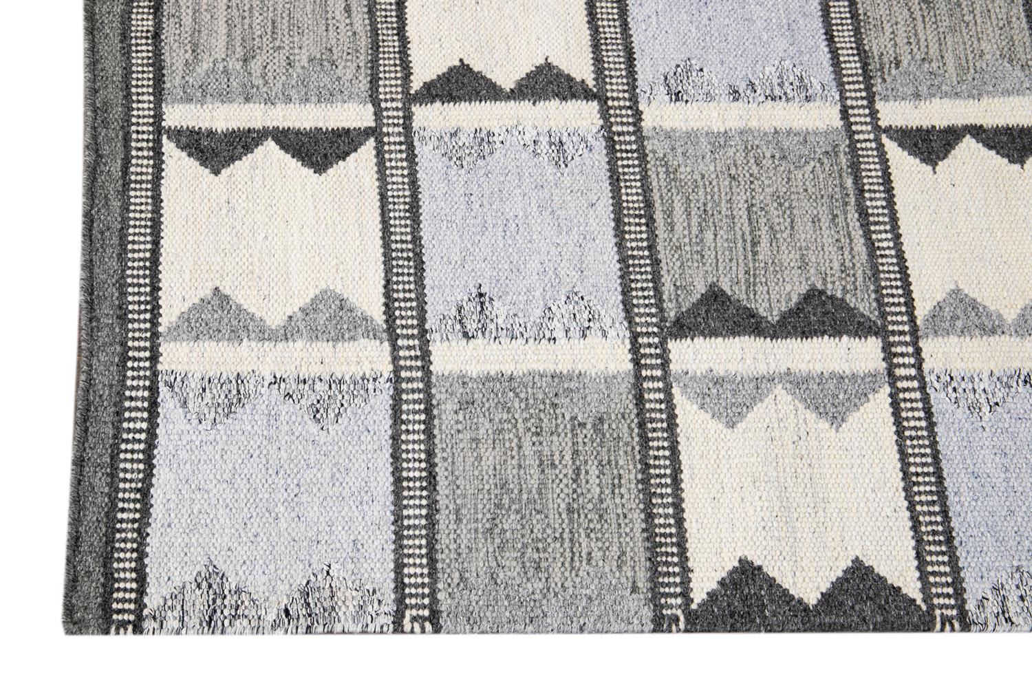 Contemporary Swedish Style Runner Rug, 3' x 14'