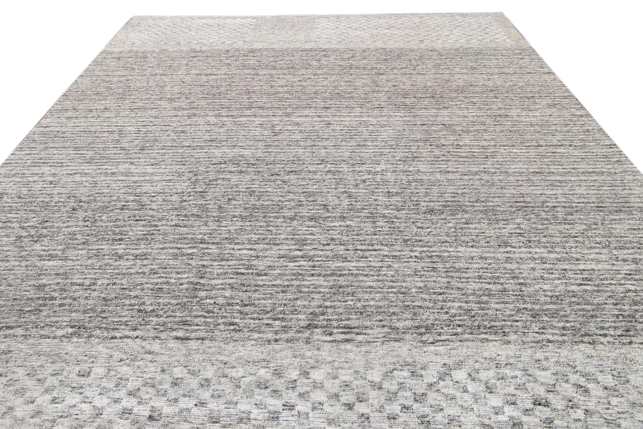 21st Century Contemporary  Textured Loop Wool Rug, 12' x 15'