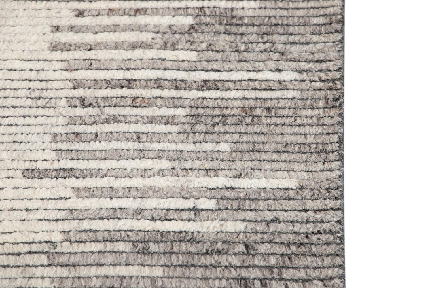 21st Century Modern Textured Ribbed Wool Rug, 11' x 14'