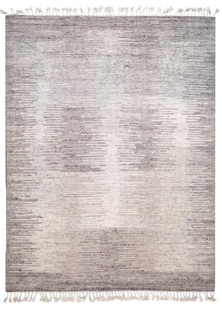 21st Century Modern Textured Ribbed Wool Rug, 12' x 15'