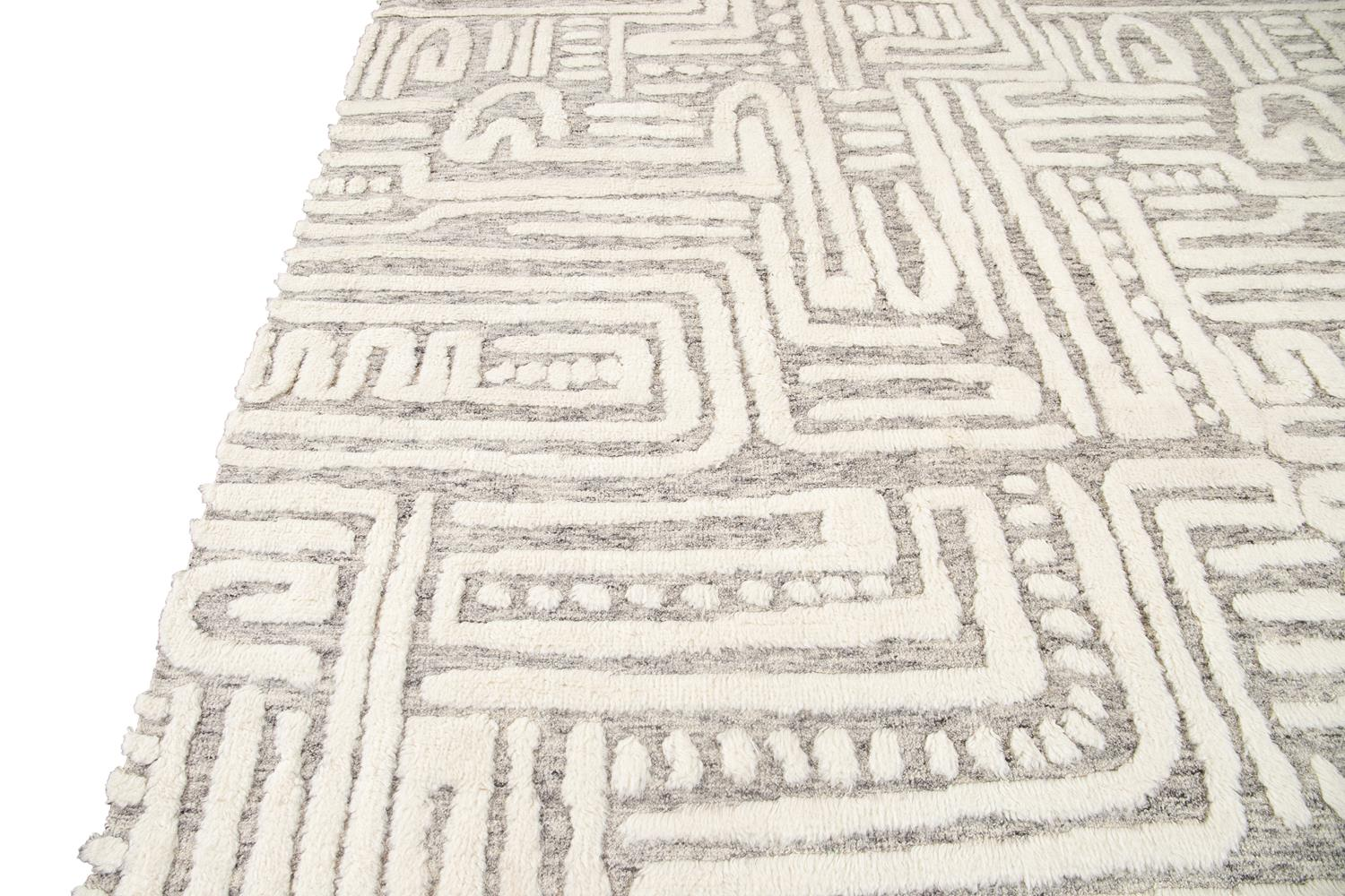 21st Century Contemporary Textured High Low Wool Rug, 12' x 15'