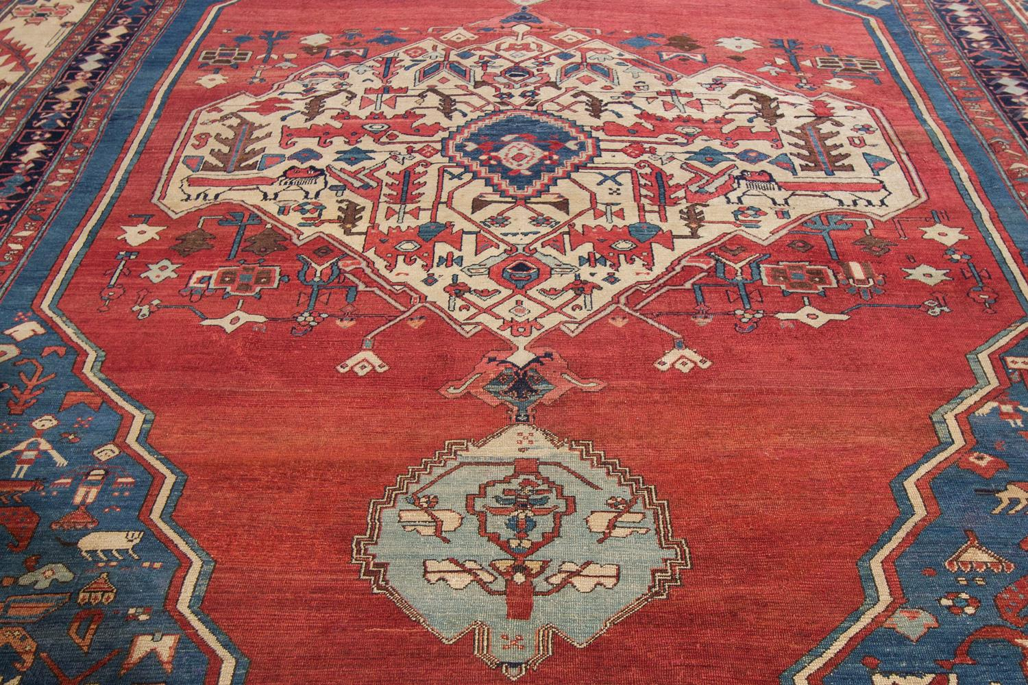19th Century Antique Serapi Rug, 13x20