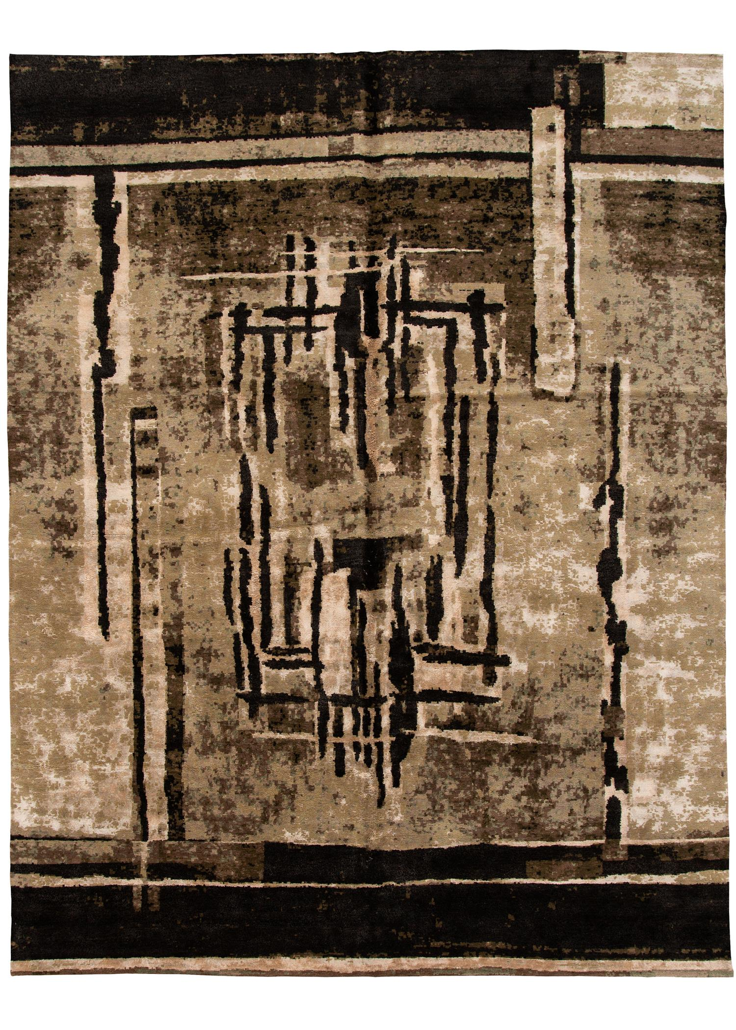 Contemporary Tibetan Abstract Rug, 11X14