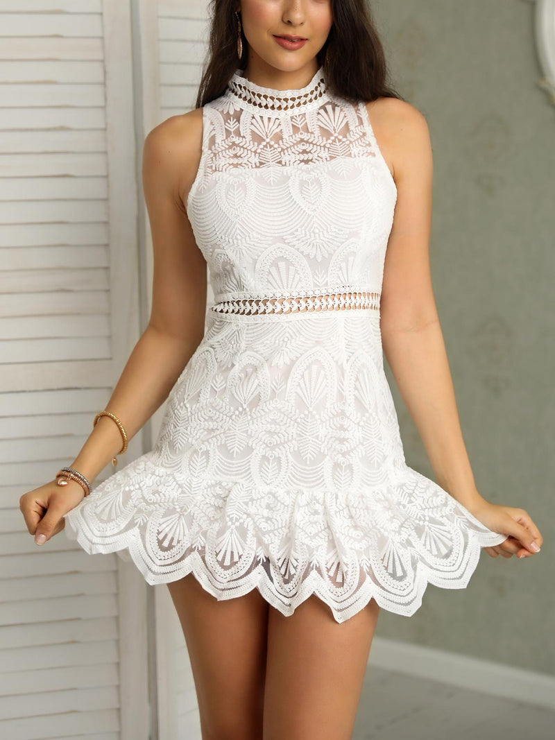 Halter Lace Hollow Out Scalloped Hem Mini Dress