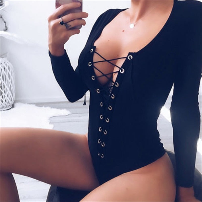 Eyelet Lace-up Long Sleeve Bodysuit
