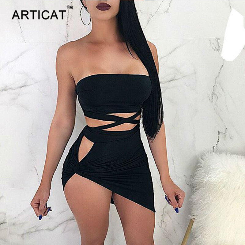 Sexy Bandage Crop Top & Split Twisted Skirt Set