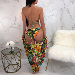 3PCs Tropical Print Halter Bikini G-string With Cover Ups