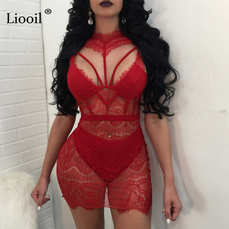 See Through Eyelash Lace Cut Out Mini Dress