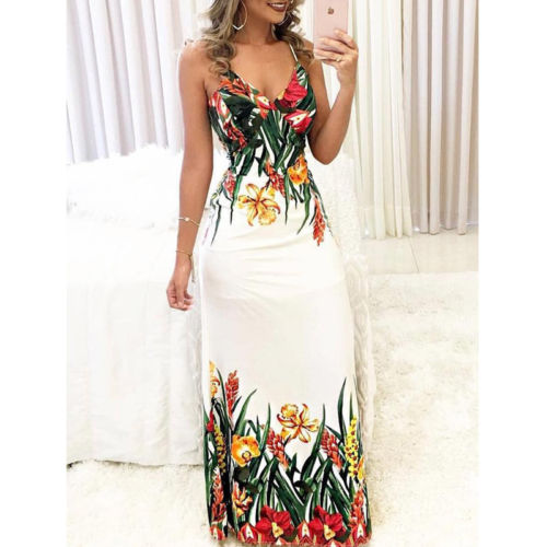 Floral Print Deep V Slip Maxi Dress
