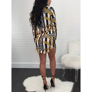 Curved Hem Chains Print Belted Casual Shirt Dress