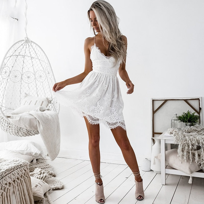V-Neck Lace Eyelash Open Back Dress