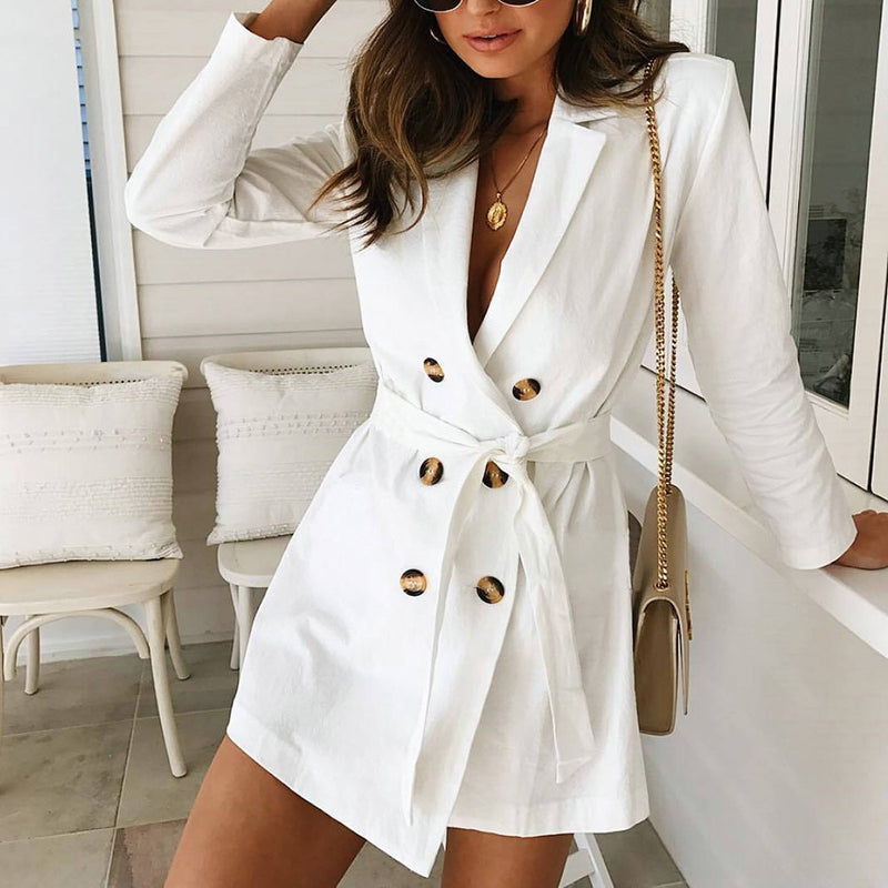 Solid Double Breasted Belted Blazer Dress