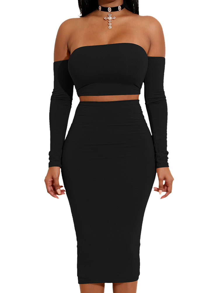 Sexy Off Shoulder Lace-up Back Cropped Skirt Set
