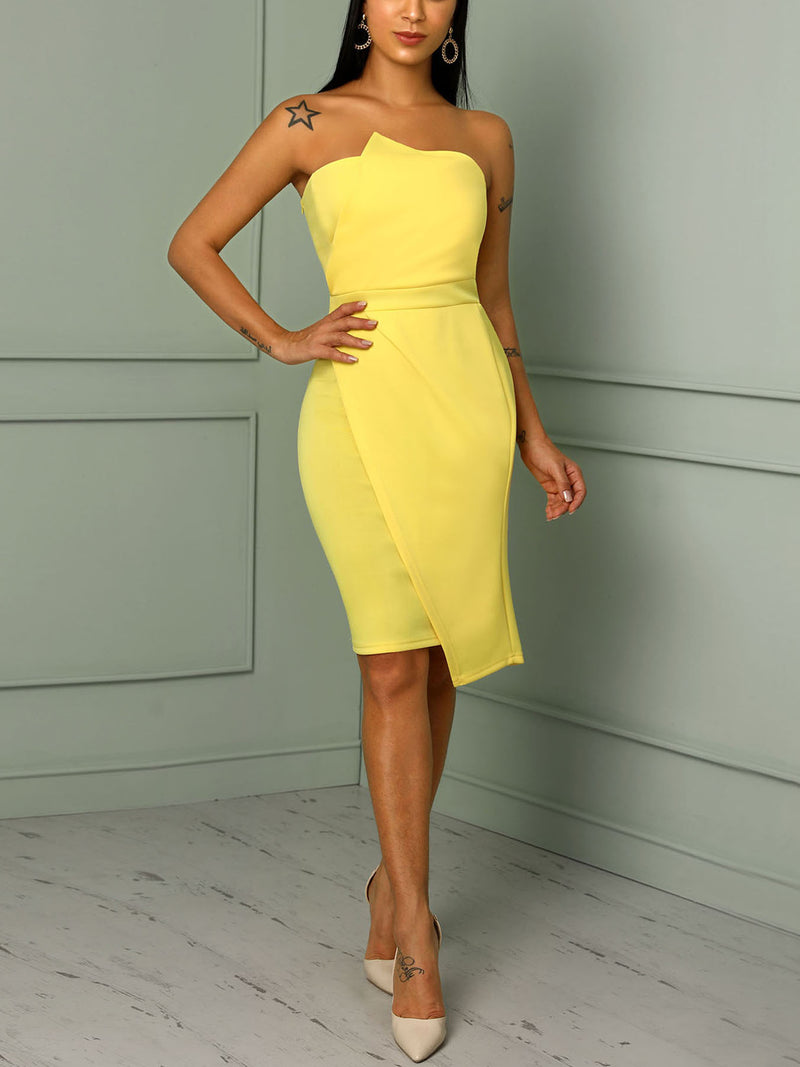 Striking Fold Front Asymmetric Dress
