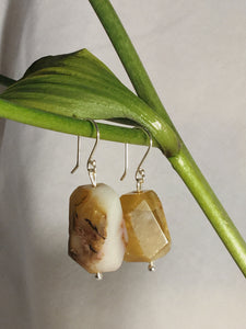 One of a kind handmade earrings with yellow Amazonite and 925 sterling silver posts