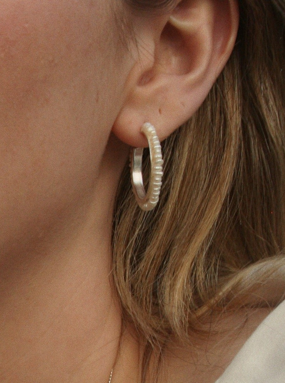 Handmade 925 sterling silver hoop earrings with freshwater pearls