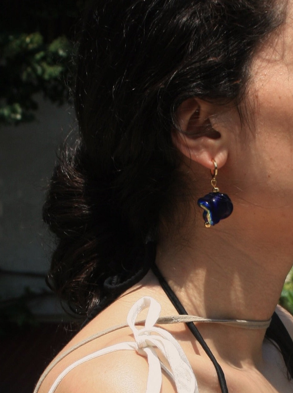 Handmade Murano glass earrings with gold-plated hooks, dark / royal blue in color and gilded. Limited edition.