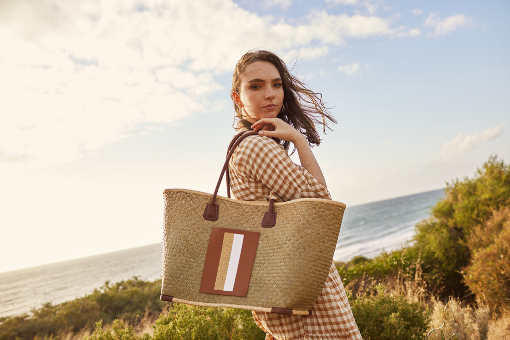 Lanamara - Grazia Basket Bag with Brown Leather Straps and Personalised Pocket
