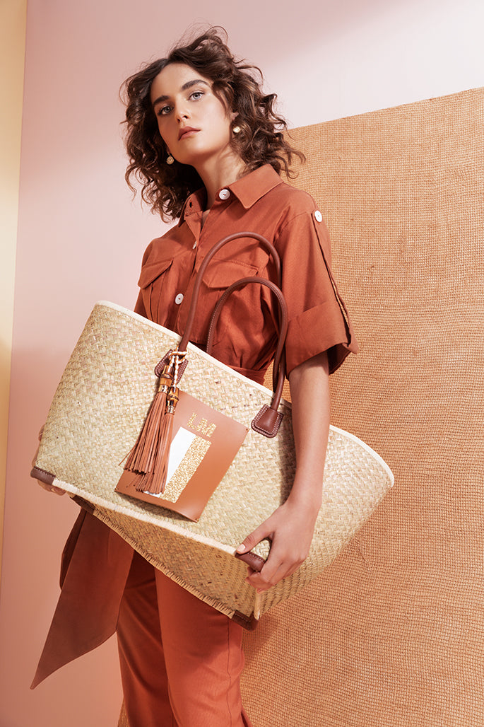 Lanamara - India Bag Charm Tassel in Brown Leather - With Oversize Palm Basket Bag