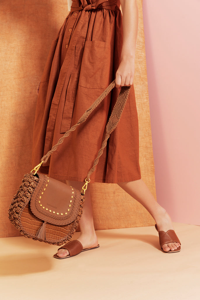 Lanamara - Noa Handmade Macrame Strap in Cinnamon Brown Cotton - With Brown Leather Saddle Bag