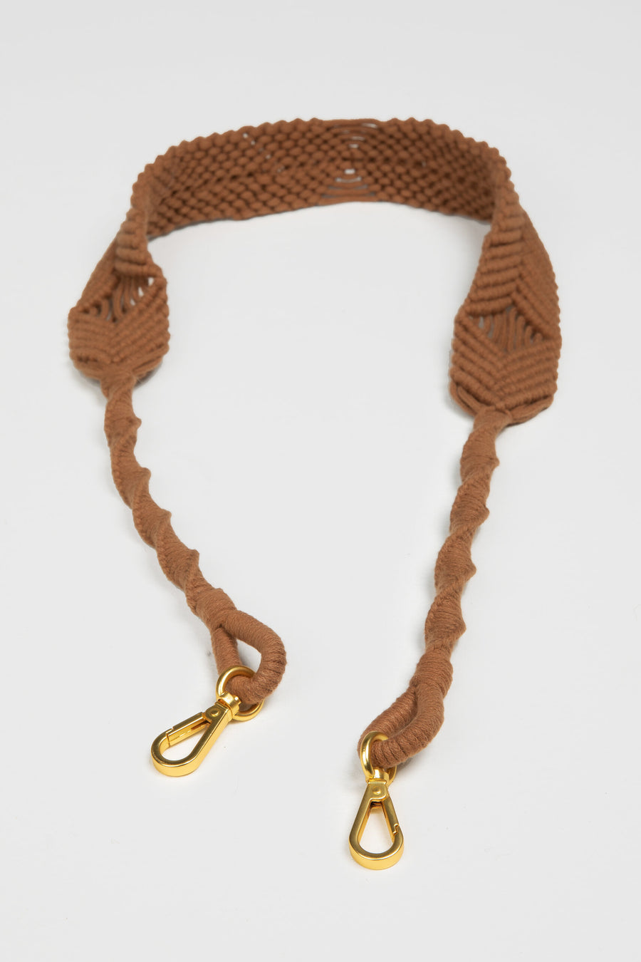 Lanamara - Noa Handmade Macrame Strap in Cinnamon Brown Cotton  with Gold Clips