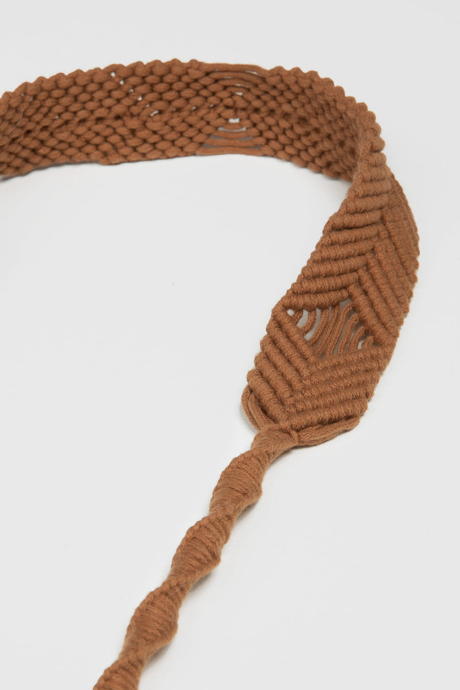 Lanamara - Noa Handmade Macrame Strap in Cinnamon Brown Cotton - Close Up View