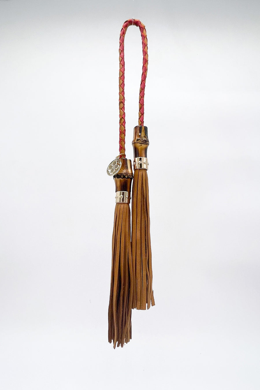 India Bag Charm - Tan & Red