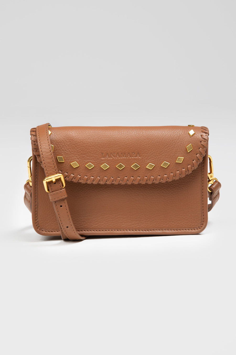Lanamara - Elodie Brown Leather Belt Bag with Studs - Small