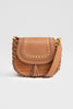 Lanamara - Grace Brown Leather Saddle Bag - Brown Leather and Croc-Embossed with Tassel
