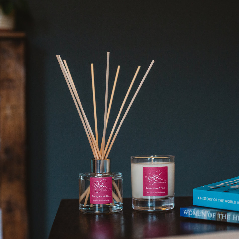 Pomegranate & Plum Reed Diffuser and Small Tumbler