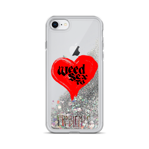 weed sex tv liquid glitter iphone case