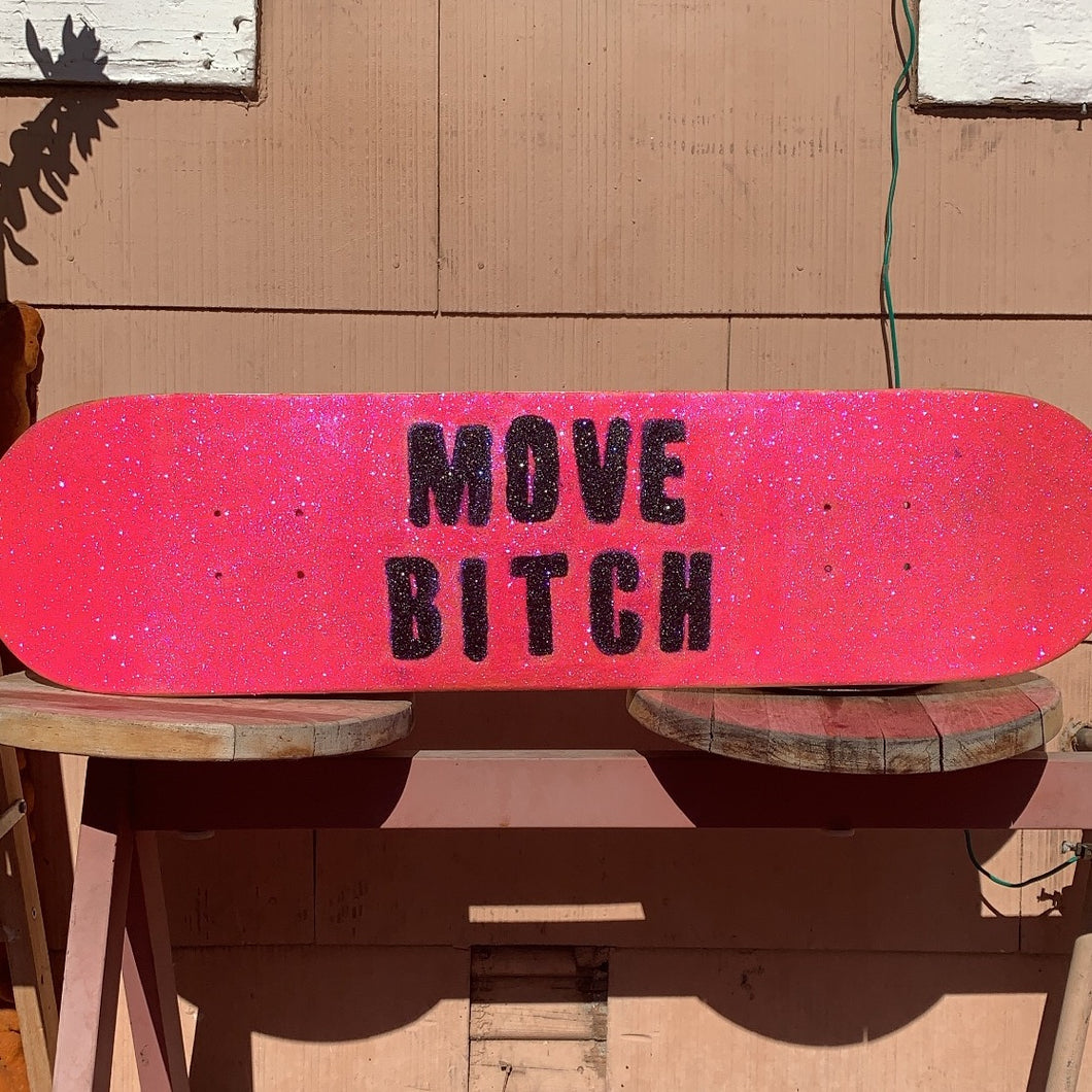 the luda (move bitch) glitter skateboard
