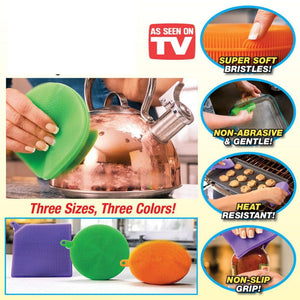 MAGIC SPONGE - GENIUS SILICONE SCOURING PAD (3 PCS PER SET)